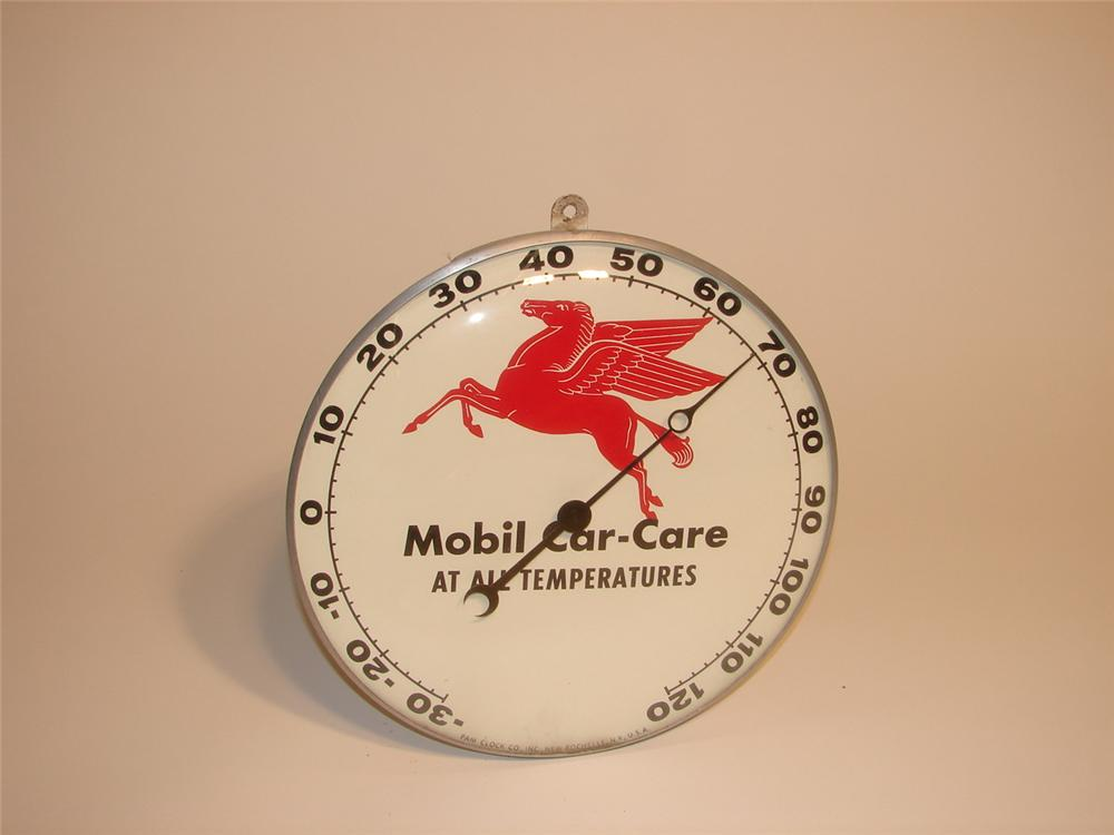 Scarce 1950s Mobil Car Car glass faced station thermometer. - Front 3/4 - 62695