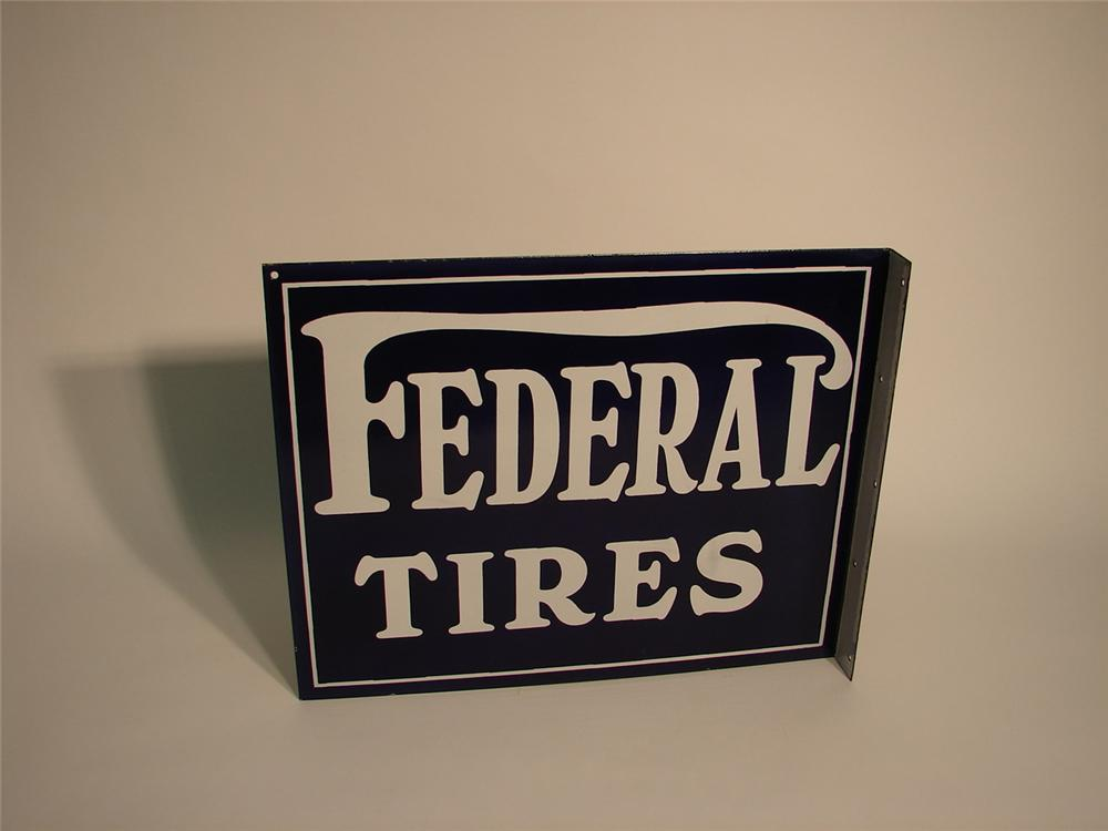 N.O.S. late 20s-early 30s Federal Tires porcelain garage flange. - Front 3/4 - 62696