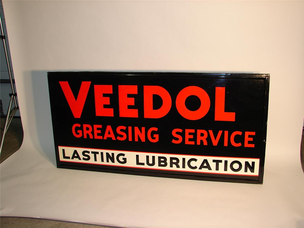 N.O.S. 1940s Veedol Greasing Service self-framed wood tin garage sign. - Front 3/4 - 62697
