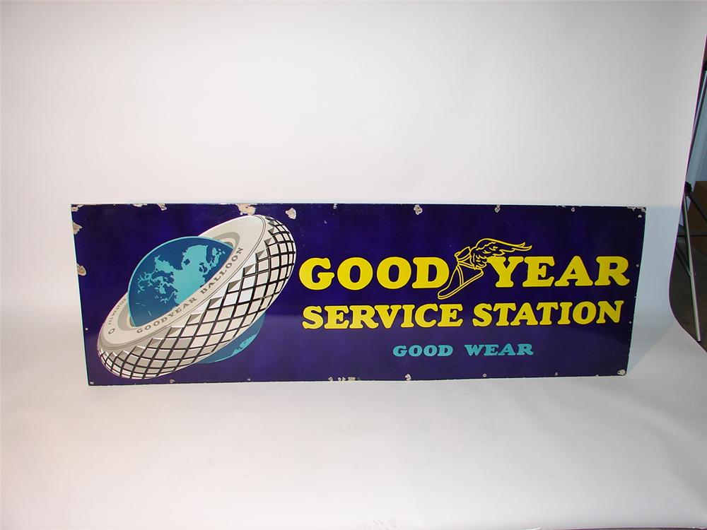 "Eye appealing 1930s Goodyear ""Good Wear"" porcelain garage sign. - Front 3/4 - 62698"