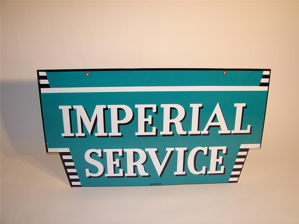 Amazing N.O.S. late 50s Chrysler Imperial Service double-sided porcelain dealership sign. - Front 3/4 - 62703