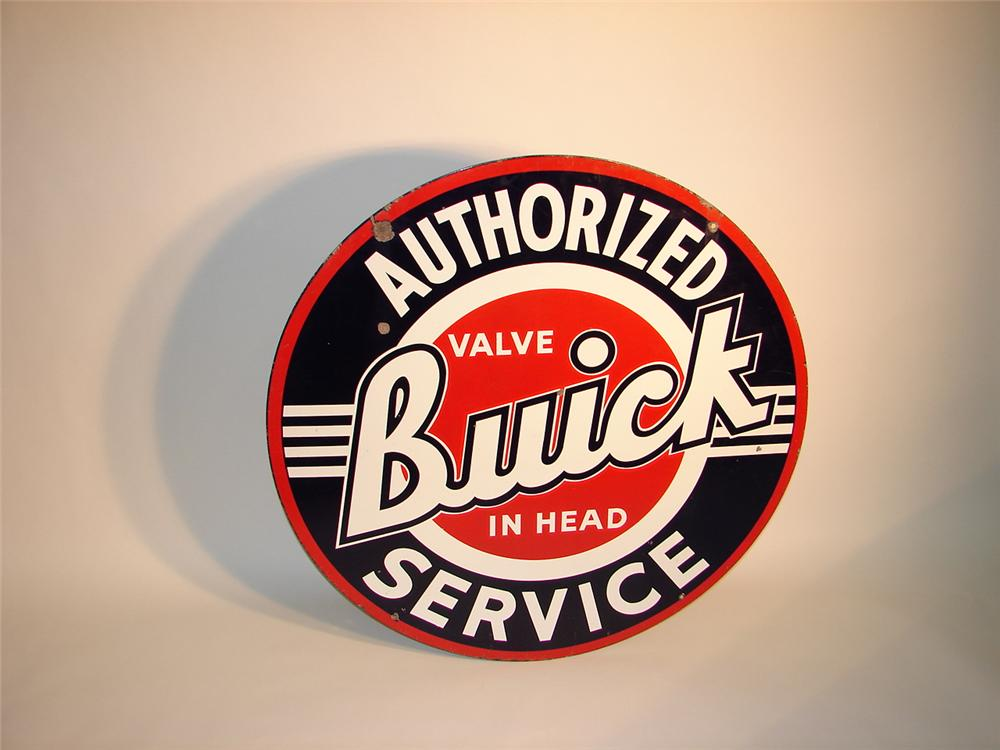 "Very nice 1940s Buick ""Valve-In-Head"" double-sided porcelain dealership sign. - Front 3/4 - 62719"
