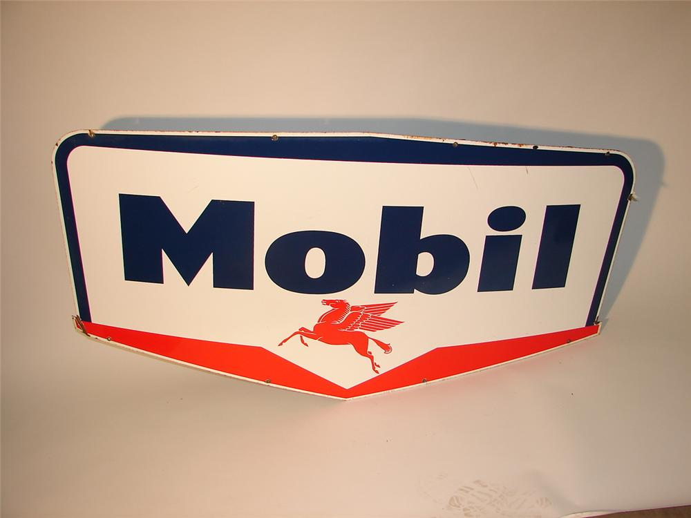 Late 50s-early 60s Mobil single-sided porcelain station sign with Pegasus logo. - Front 3/4 - 62720