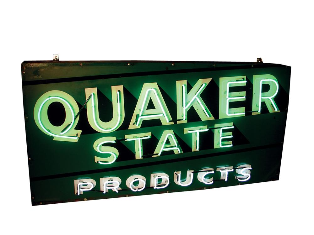 Large 1950s Large Quaker State Motor Oil single-sided porcelain neon garage sign. - Front 3/4 - 62721