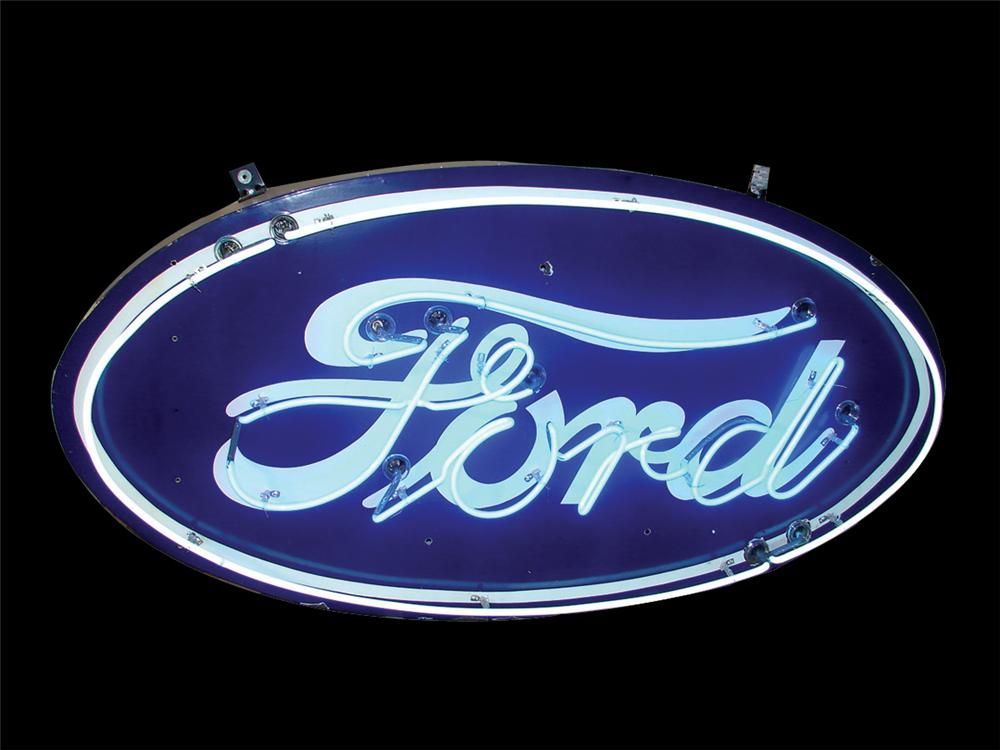 Incredible 1930s-40s Ford single-sided porcelain neon dealership sign. - Front 3/4 - 62722