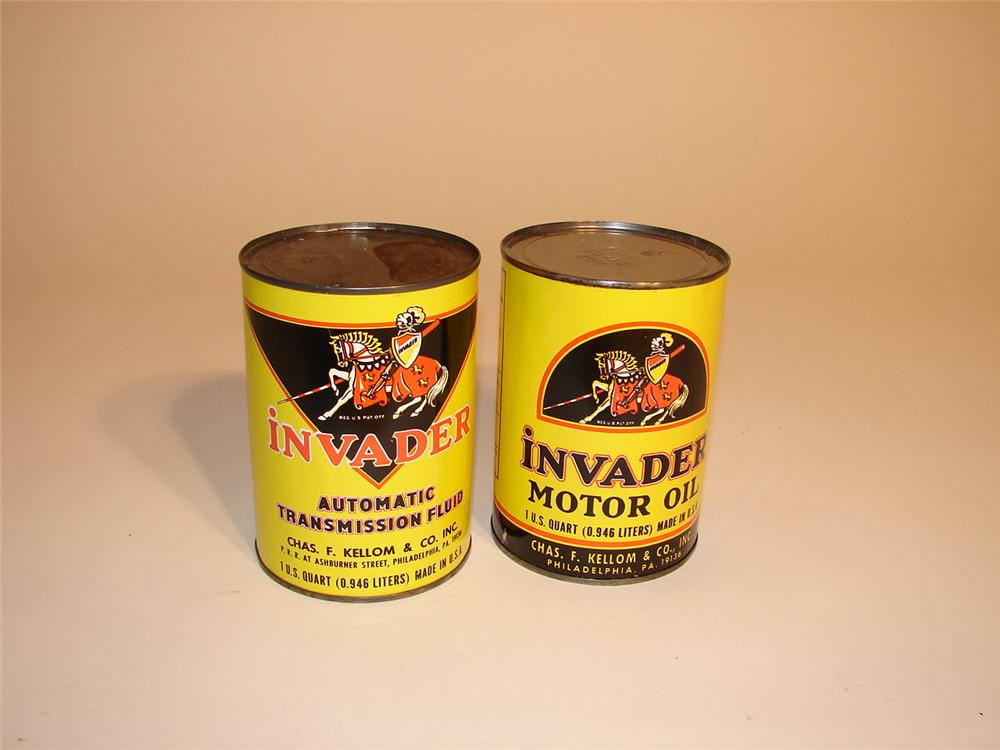 Lot of two hard to find 1950s Invader Oil and Transmission fluid quarts. - Front 3/4 - 62829