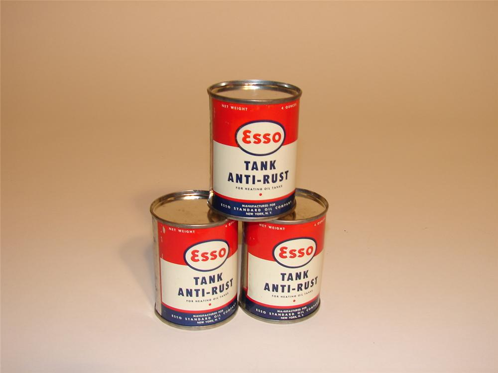 Lot of three N.O.S. 1950s Esso Tank Anti-Rust four ounce tins. - Front 3/4 - 62830