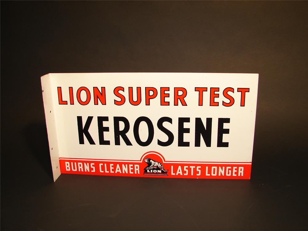 N.O.S. 1940s Lion Kerosene double-sided tin painted flange sign. - Front 3/4 - 62840