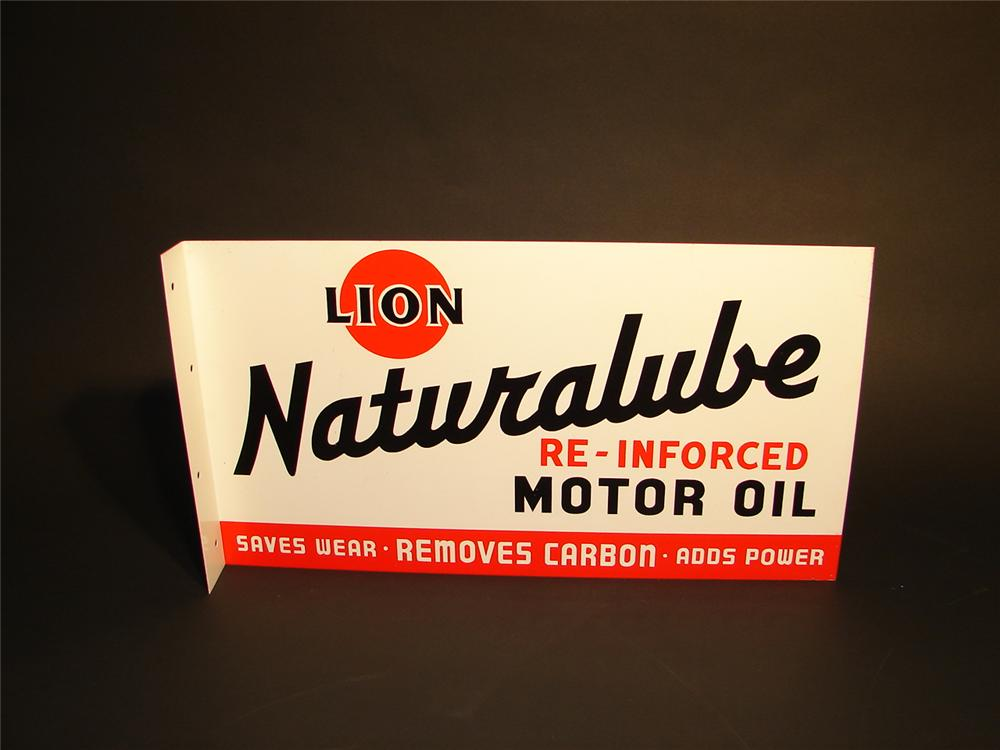 """N.O.S. 1950s Lion """"Naturalube"""" Motor Oil double-sided tin painted flange sign. - Front 3/4 - 62842"""