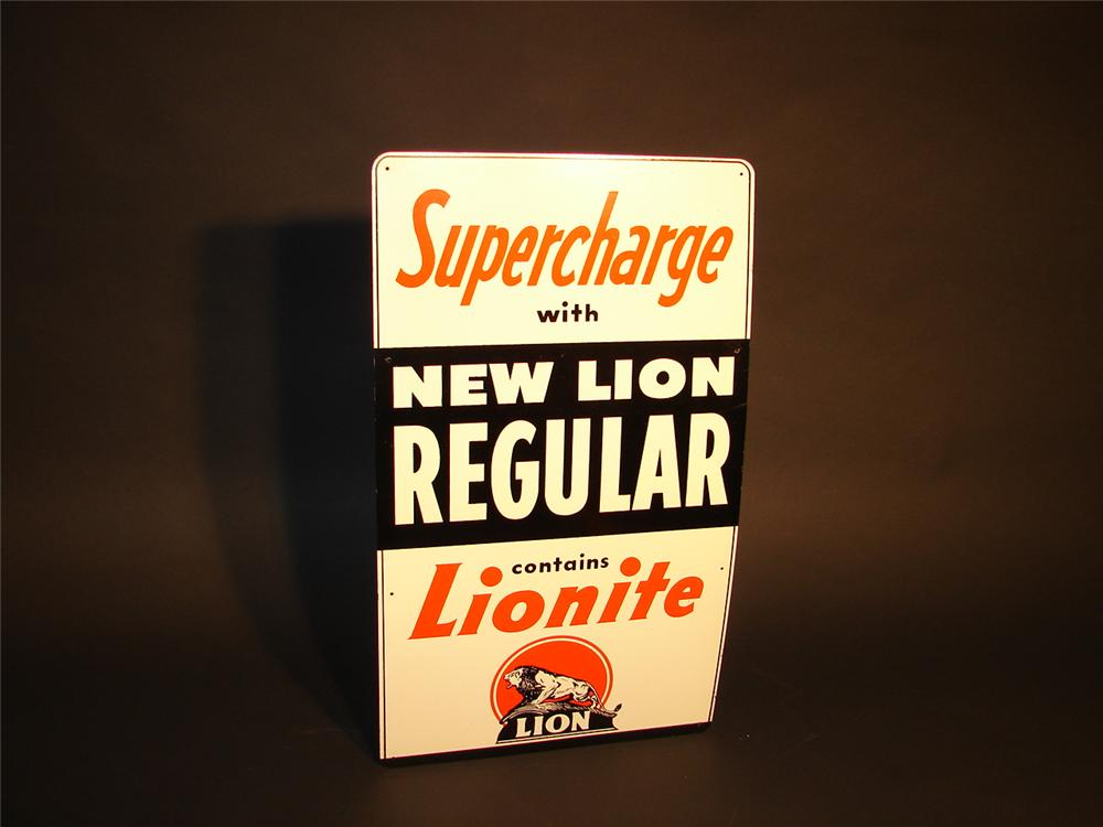 """N.O.S. 1940s Lion """"SuperCharge"""" Gasoline single-sided tin pump plate sign. - Front 3/4 - 62843"""