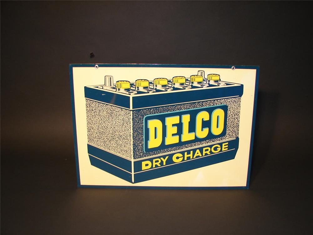 "N.O.S. 1950s Delco ""Dry Charge"" Batteries double-sided tin garage sign. - Front 3/4 - 62844"