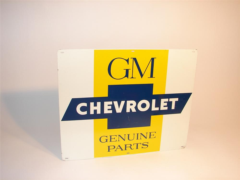 Late 50s-early 60s GM Chevrolet Genuine Parts single-sided tin dealership sign. - Front 3/4 - 62847