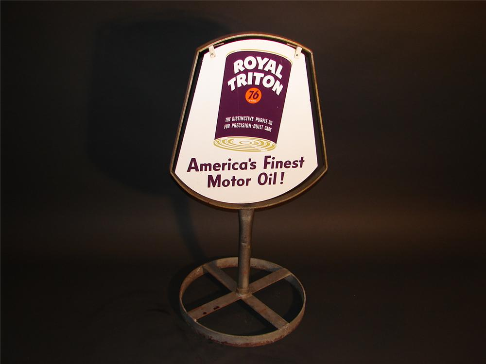 Killer 1950s Union 76 Royal Triton double-sided porcelain curb sign in original stand. - Front 3/4 - 62851