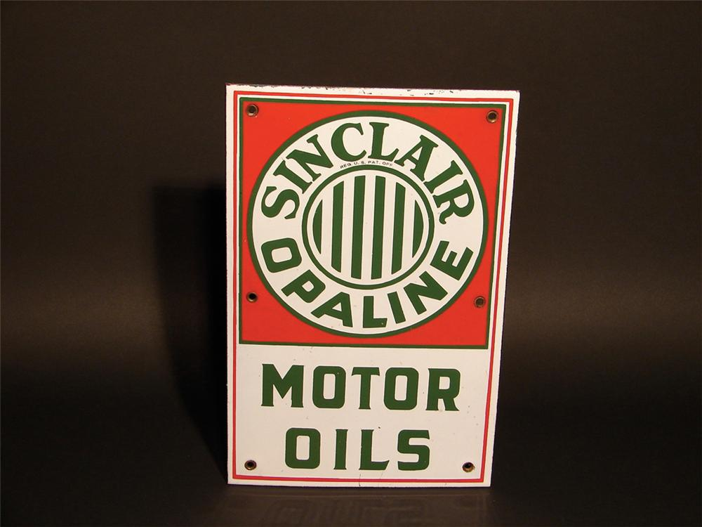Hard to find late 20s Sinclair Opaline Motor Oils single-sided porcelain lubester plate. - Front 3/4 - 62852