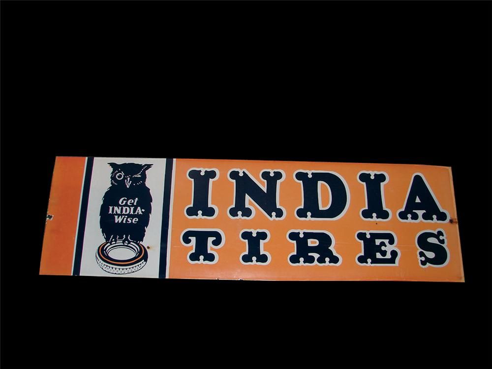 Scarce 1930s India Tires porcelain garage sign with Owl graphic. - Front 3/4 - 62855
