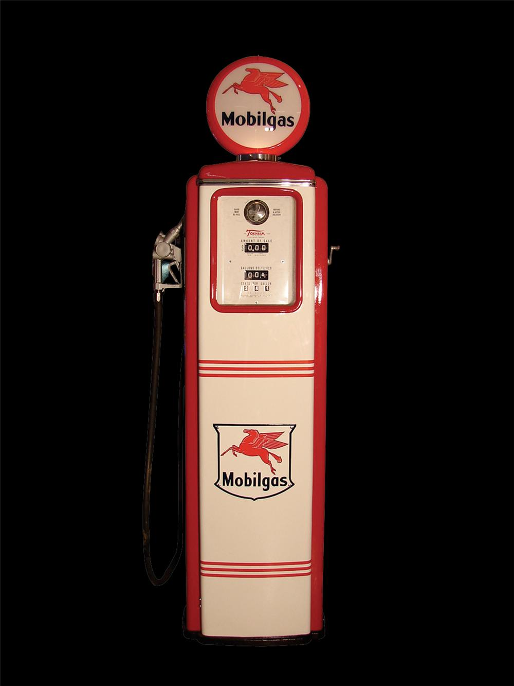 Fully restored 1940s Mobilgas Tokheim station pump. - Front 3/4 - 62857