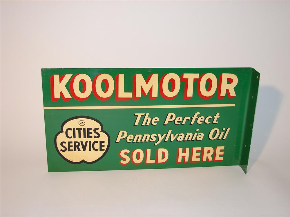 N.O.S. 1940s Cities Service KoolMotor Oil double-sided tin station flange. - Front 3/4 - 62865
