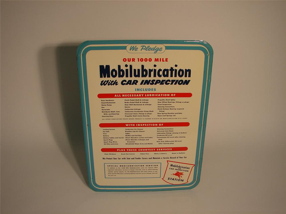 N.O.S. 1940s Mobilubrication single-sided tin garage sign. - Front 3/4 - 62867