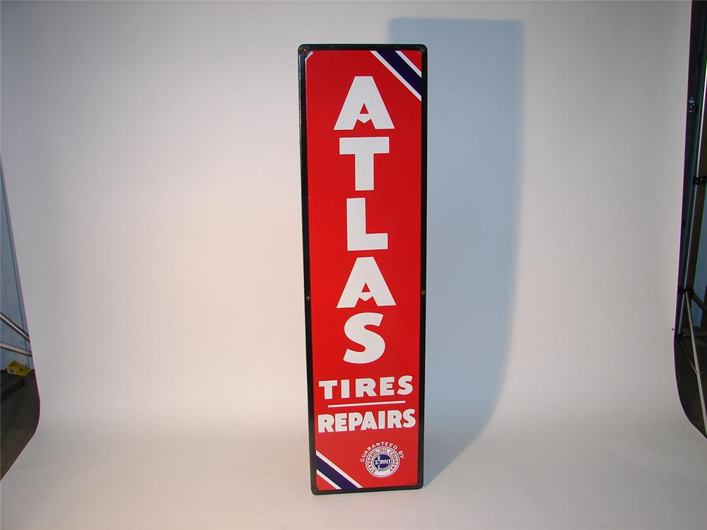 N.O.S. 1950s Standard Oil Atlas Tires - Repairs porcelain station sign. - Front 3/4 - 62872