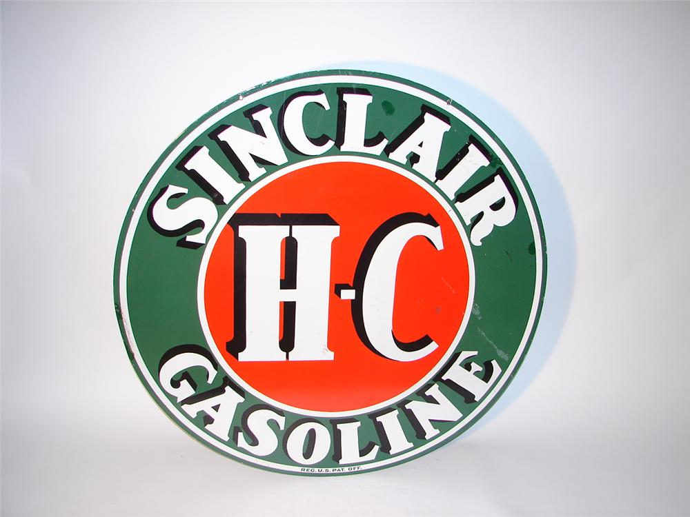 1930s HC Sinclair double-sided porcelain garage sign. - Front 3/4 - 62873