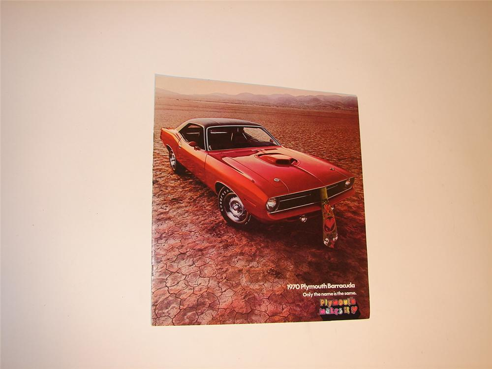 N.O.S. 1970 Plymouth Barracuda over-sized sales brochure. - Front 3/4 - 62892