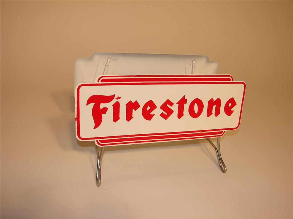 N.O.S. late 50s-early 60s Firestone Tires station tire display. - Front 3/4 - 62895