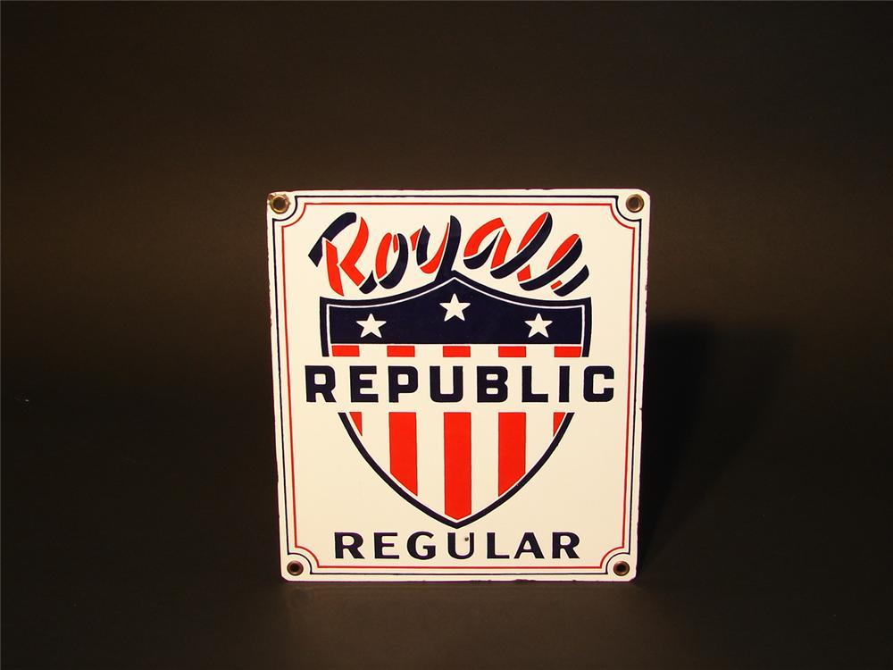 N.O.S. 1950s Royale Gasoline porcelain pump plate sign. - Front 3/4 - 62900