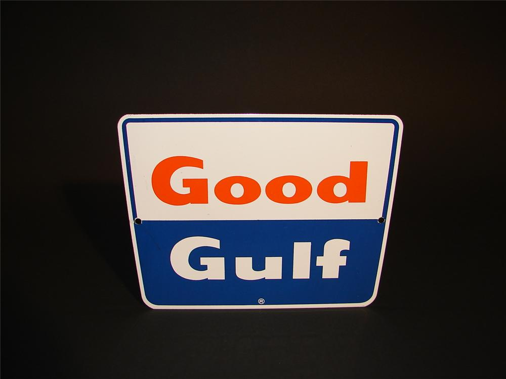 N.O.S. Good Gulf porcelain pump plate sign. - Front 3/4 - 62907
