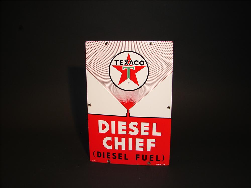 Very clean early 1962 Texaco Diesel Chief porcelain pump plate sign. - Front 3/4 - 62911