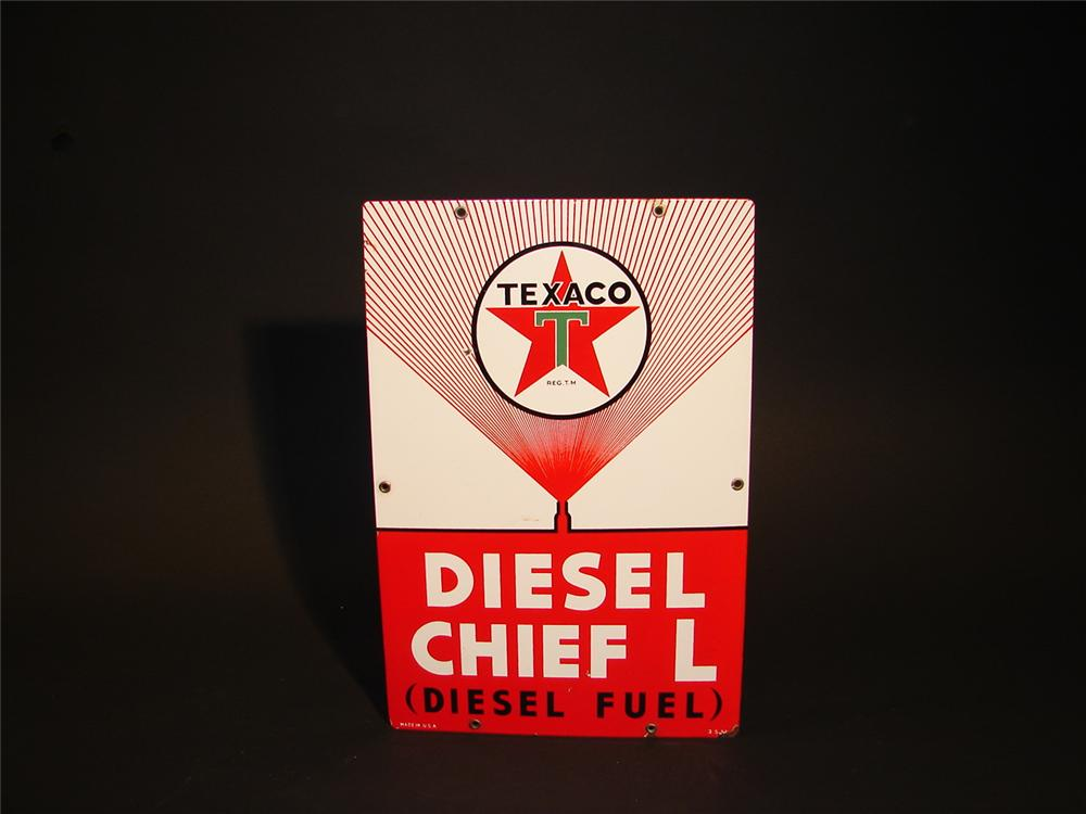 "Hard to find 1955 Texaco Diesel Chief ""L"" porcelain pump plate sign. - Front 3/4 - 62912"