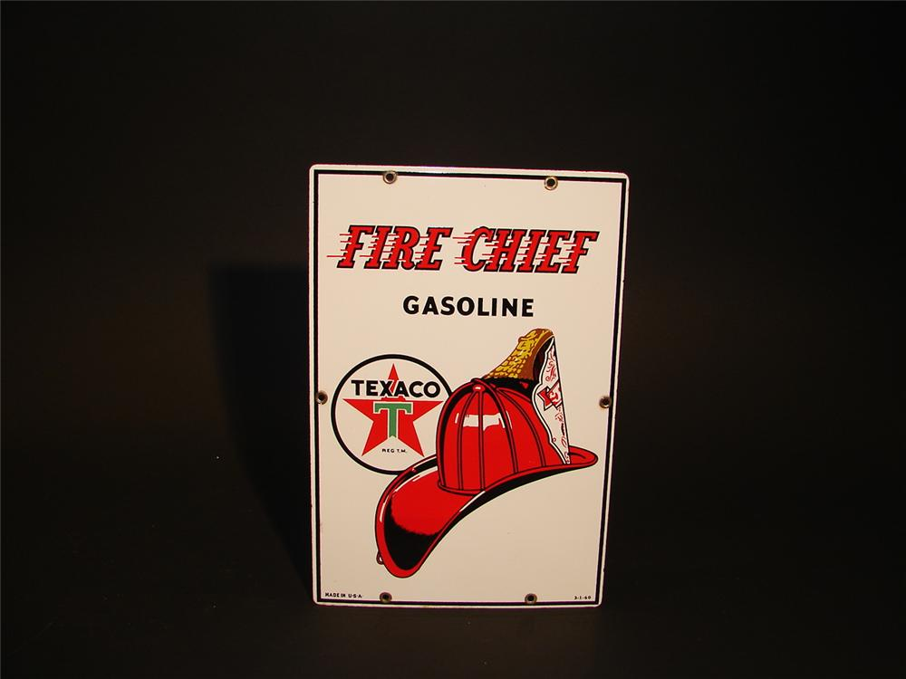 N.O.S. 1960 Texaco Fire Chief Gasoline porcelain pump plate. - Front 3/4 - 62913