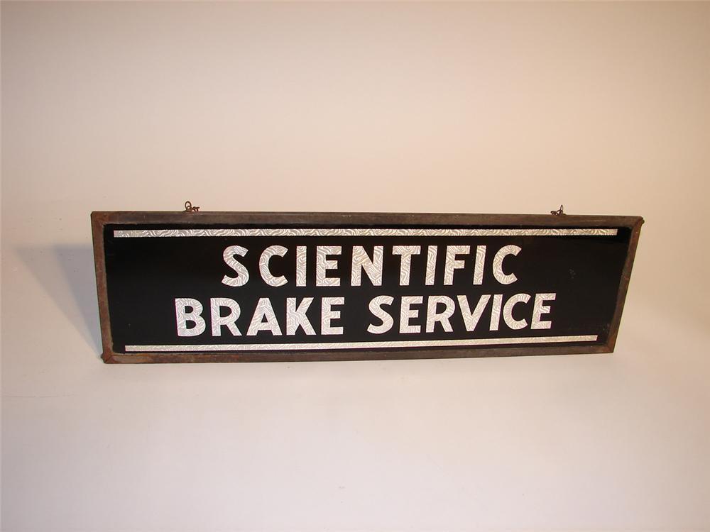 Early 1930s Scientific Brake Service dbl-sided glass foil garage sign. - Front 3/4 - 62916