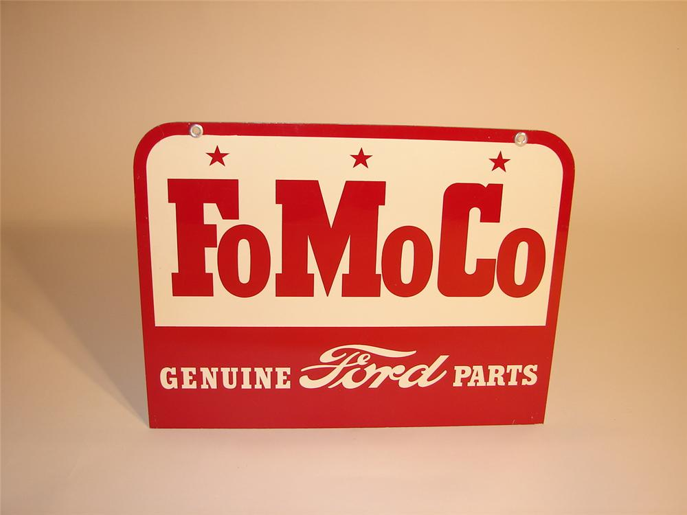 """N.O.S. late 50s-early 60s Ford """"FoMoCo"""" dbl-sided tin garage sign. - Front 3/4 - 62917"""