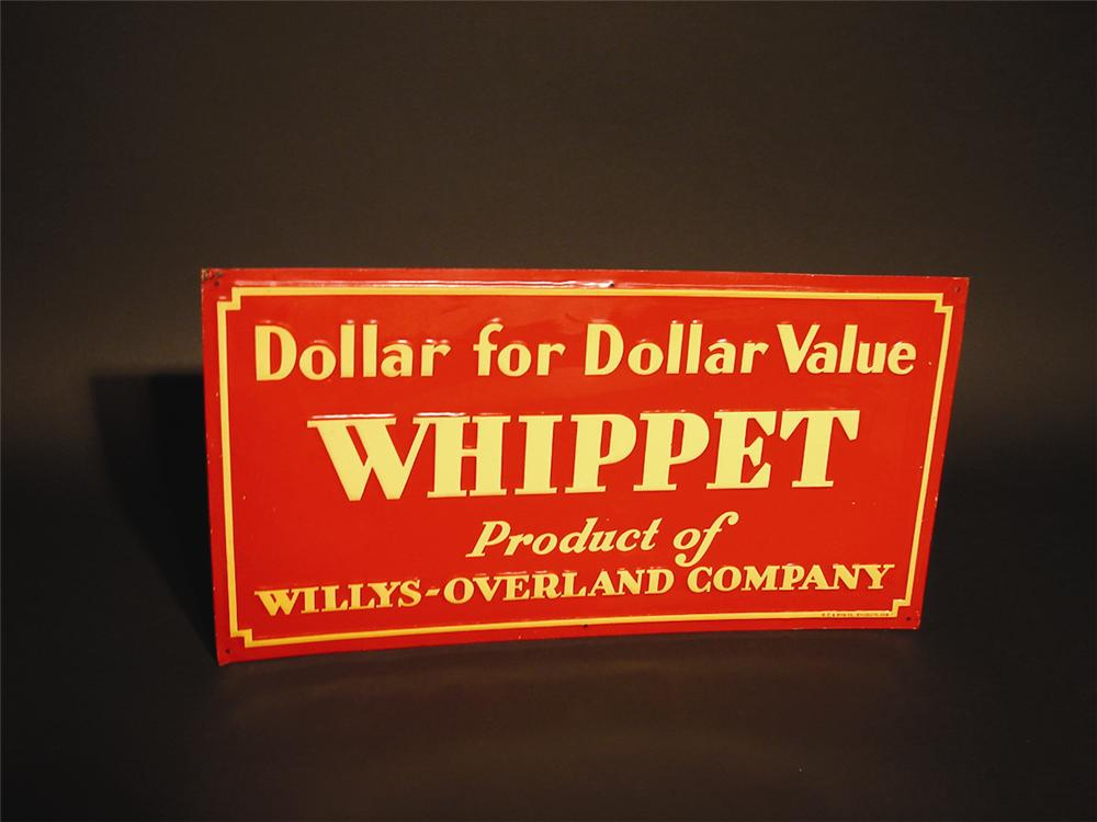 N.O.S. 1930s Willys Whippet single-sided tin garage sign. - Front 3/4 - 62918