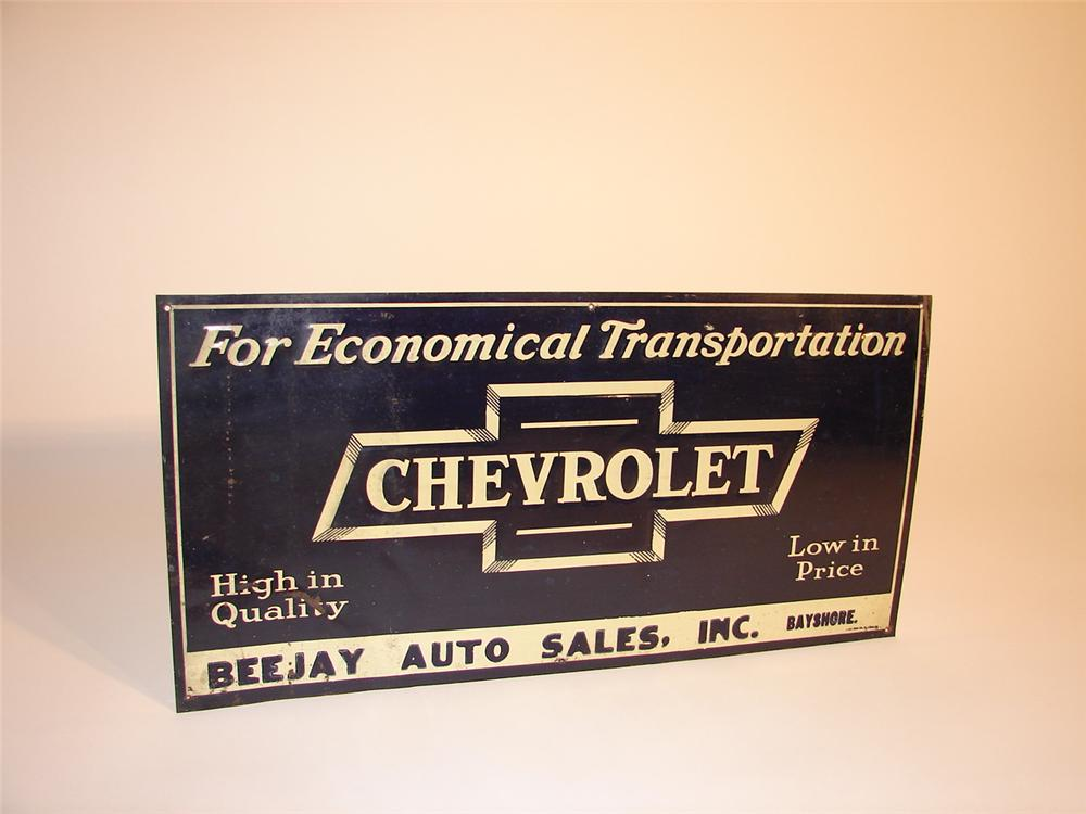 1930s Chevrolet single-sided tin embossed dealership sign with bow tie logo. - Front 3/4 - 62919