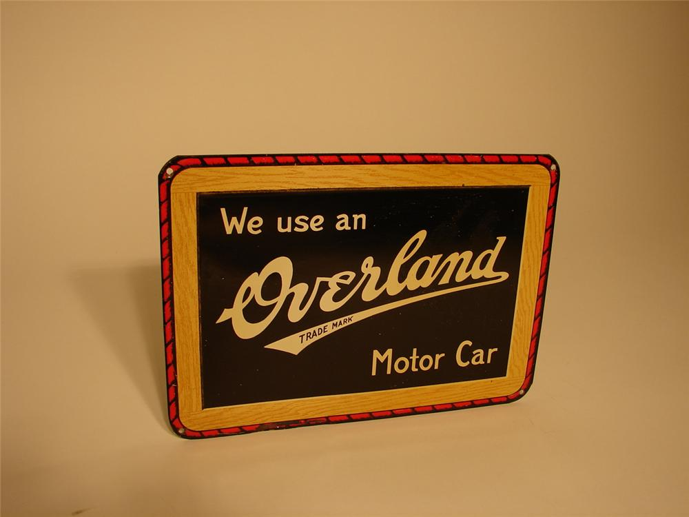N.O.S. late 20s-early 30s Overland Automobiles tin sign. - Front 3/4 - 62920