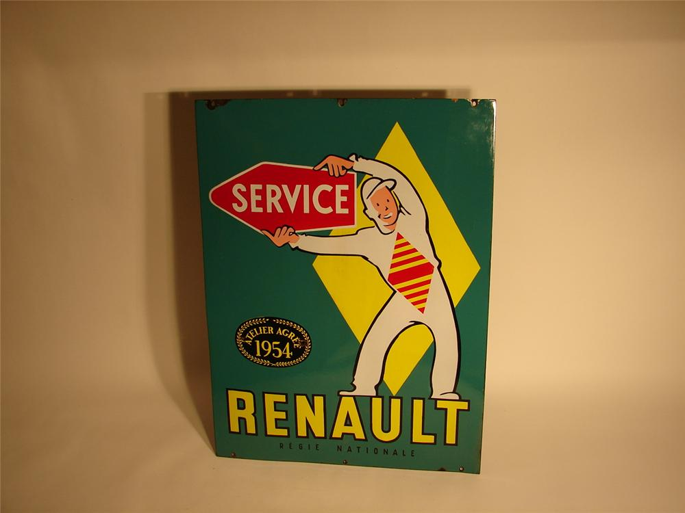 Scarce 1954 Renault Service double-sided porcelain dealership sign with period grand prix pit crewman depicted. - Front 3/4 - 62926