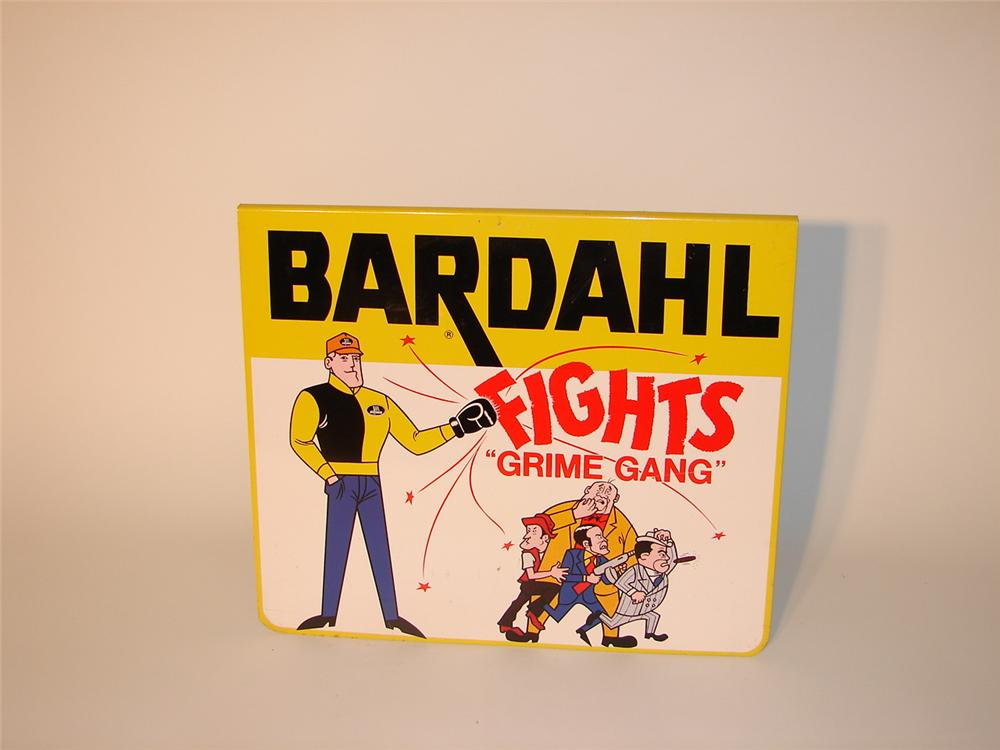 "N.O.S. 1960s Bardahl ""fights grime gang"" tin sign garage sign. - Front 3/4 - 62929"
