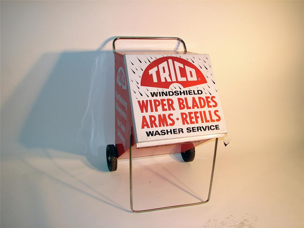 Unequaled N.O.S. late 60s Trico Wiper Blades windshield service station display cabinet on wheels. - Front 3/4 - 62933