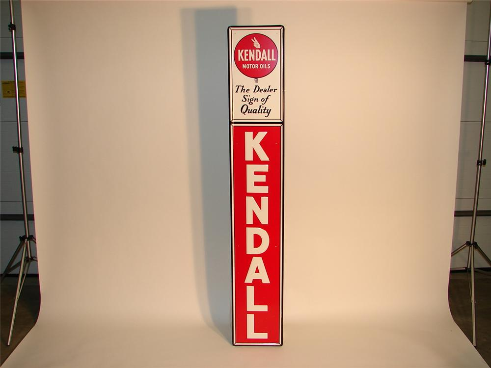 N.O.S. 1950S Kendall Motor Oils vertical tin garage sign. - Front 3/4 - 62935