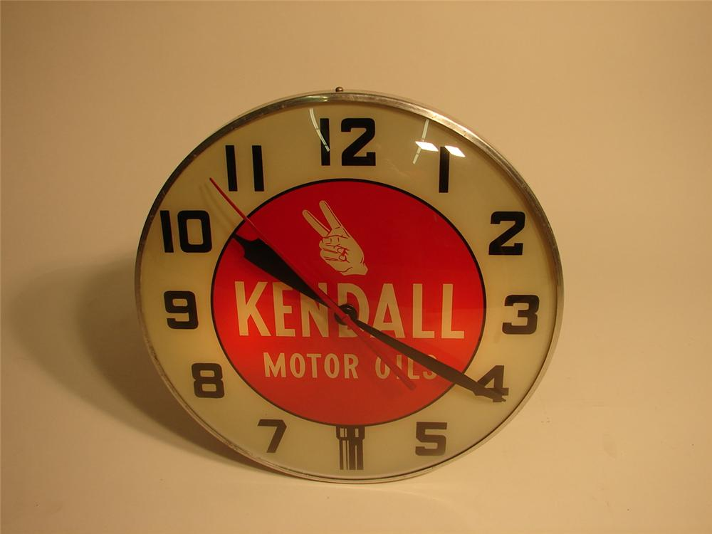 1950s Kendall Motor Oil glass-faced light-up station clock. - Front 3/4 - 62936
