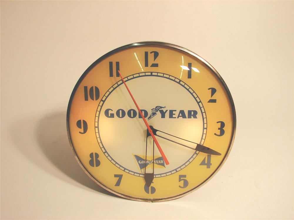 1950s Goodyear Tires glass faced light-up dealership clock by Telechron. - Front 3/4 - 62937