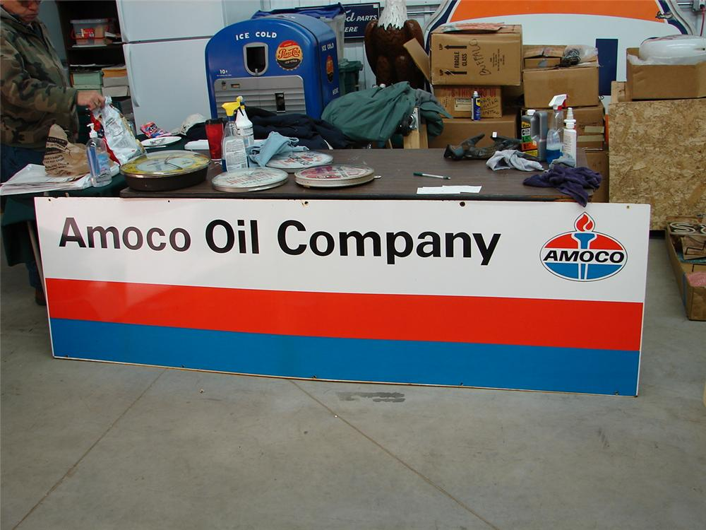 N.O.S. 1960s American Oil Company oil distributor porcelain sign. - Front 3/4 - 62940