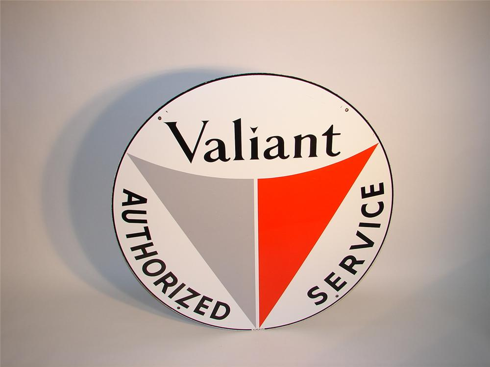1960 Chrysler-Plymouths Valiant Automobiles double-sided porcelain dealership sign. - Front 3/4 - 62941