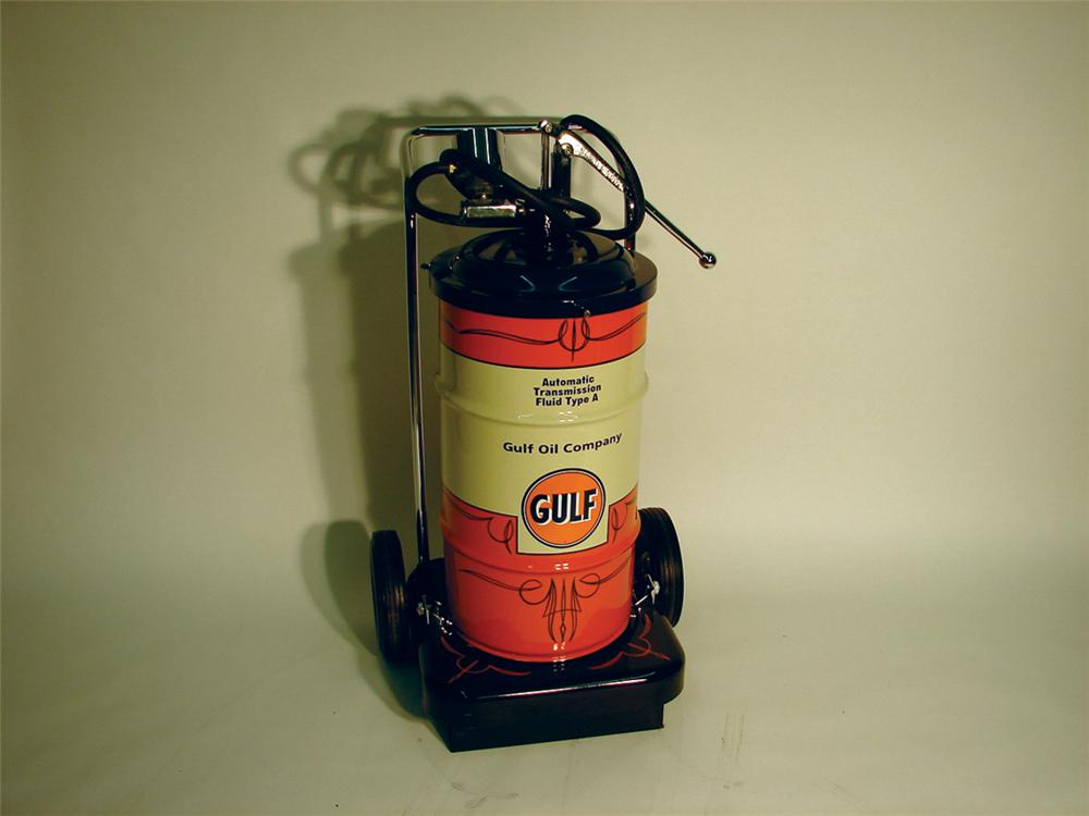 Cool 1960s Gulf Oil service department Transmission Fluid dispenser on wheels. - Front 3/4 - 62946