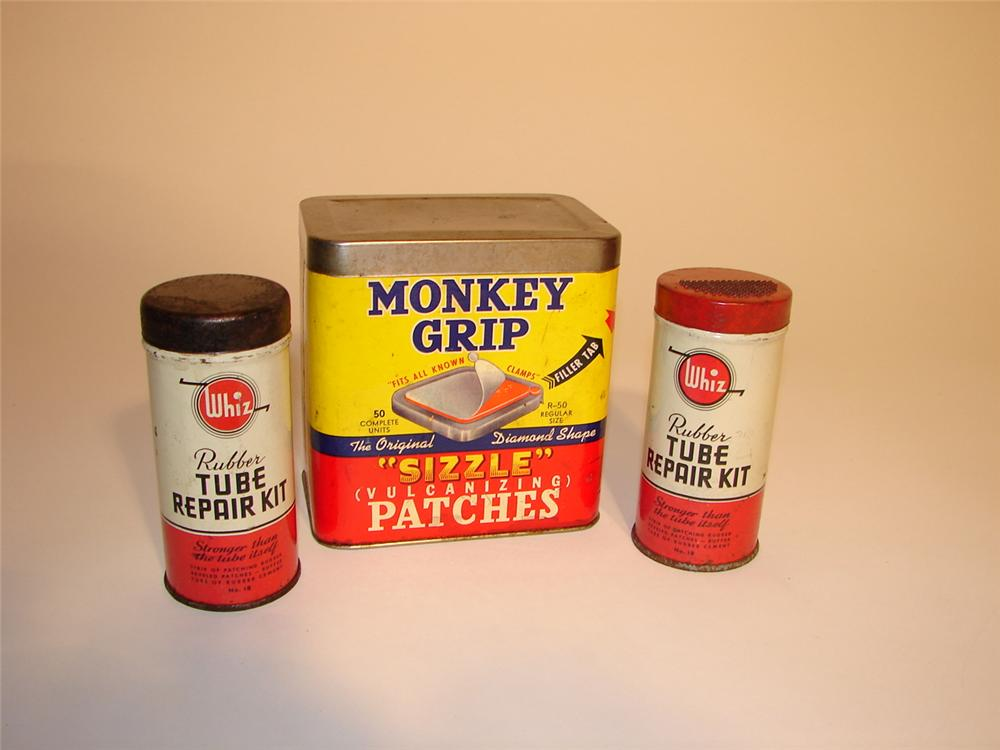 Lot of three late 40s Tube repair tins. - Front 3/4 - 62952
