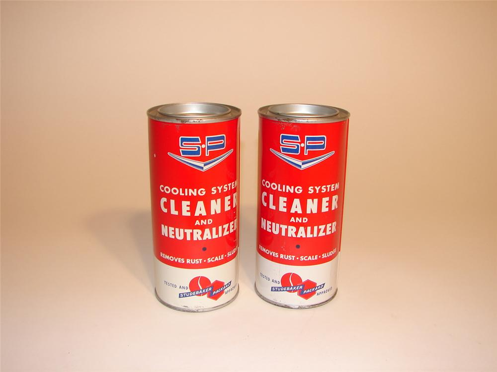Lot of two N.O.S. Studebaker-Packard cooling system cleanser tins. - Front 3/4 - 62954