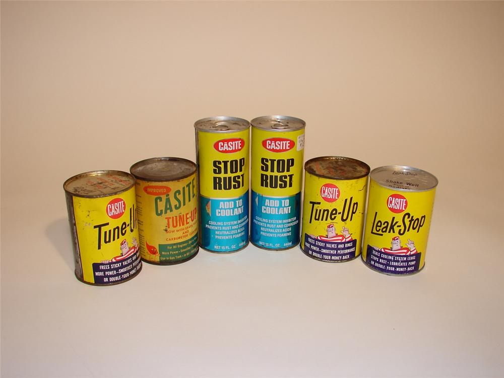 Assortment of six 1950s-60s Casite Automotive Additive tins. - Front 3/4 - 62955