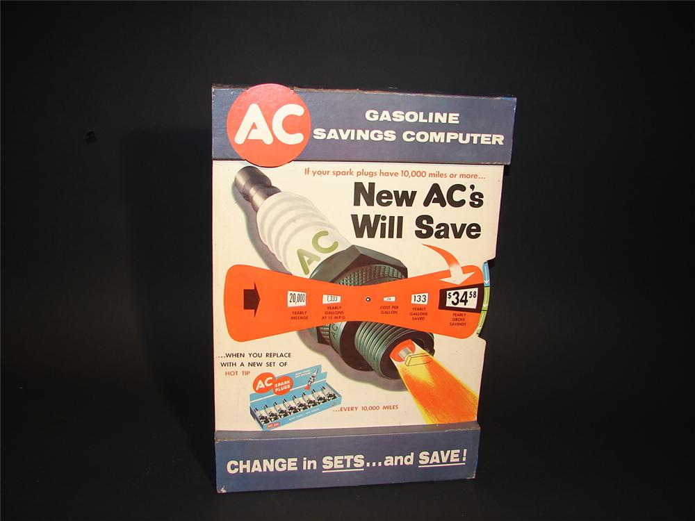 1950s AC Spark Plugs cardboard station display. - Front 3/4 - 62957