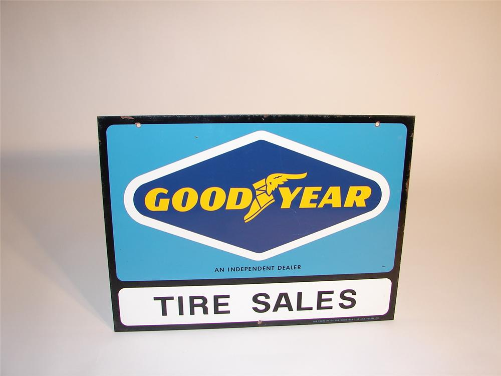 Goodyear Tire Sales double-sided tin garage sign. - Front 3/4 - 62962